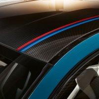 Carbon-fibre reinforced plastic roof with decorative M logo strip