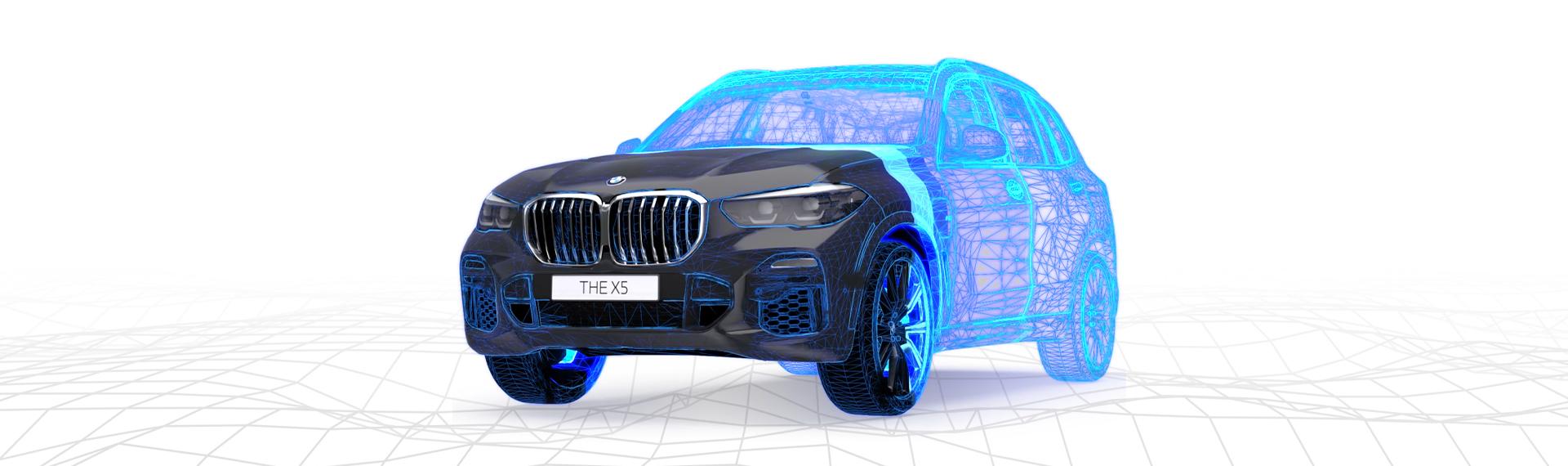 BMW X5 Virtual Viewer 3/4 front view black