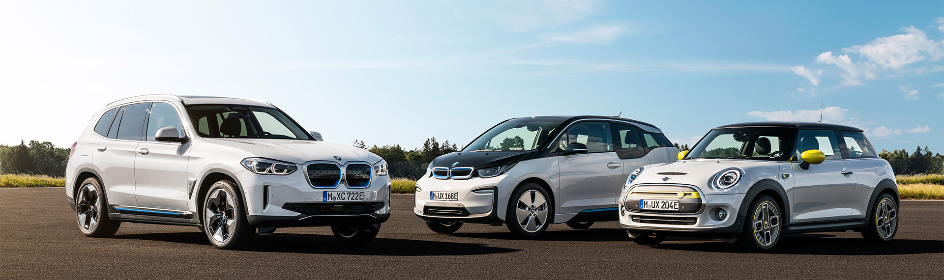 Group shot of BMW and Mini electric vehicles