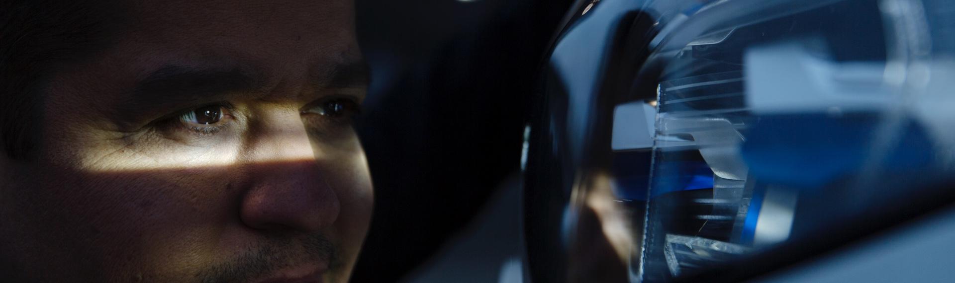 Dr. Hanafi looking into the BMW X7 Laserlight headlights