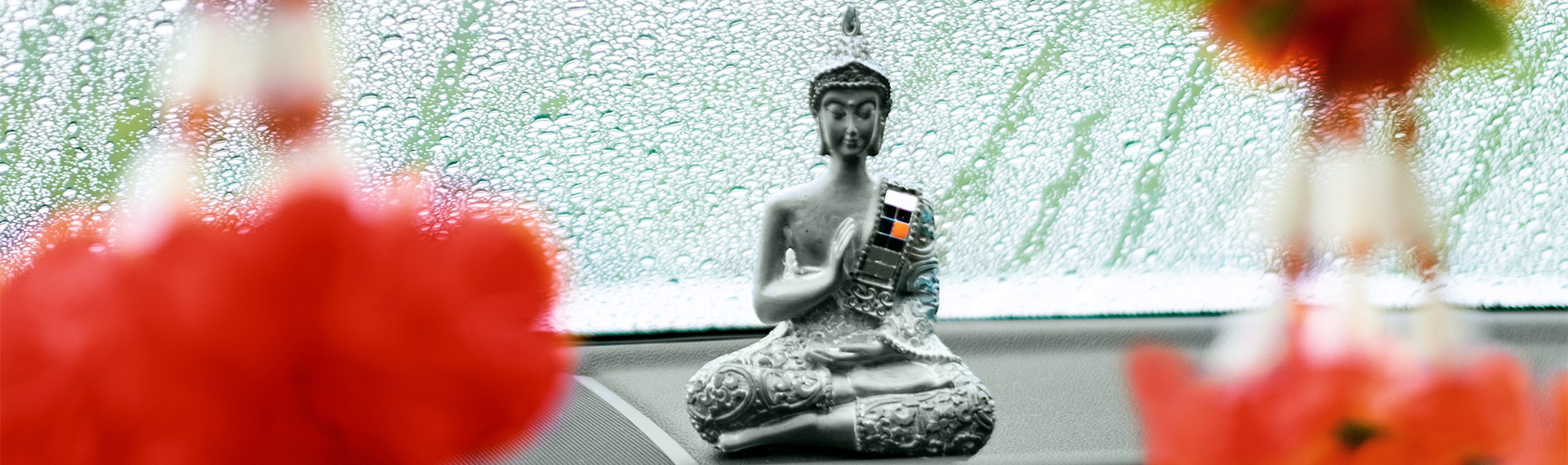 Good luck charm from Thailand on dashboard.