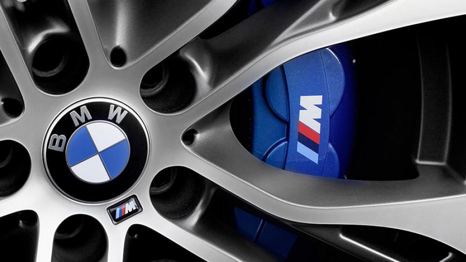 BMW wheel with blue M performance caliper